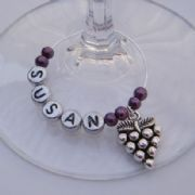Grapes Personalised Wine Glass Charm